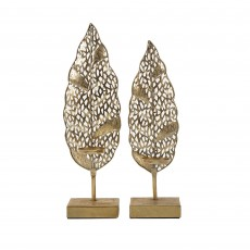 Mindy Brownes Leaf Sculpture 2 Bright Gold (Set of 2)