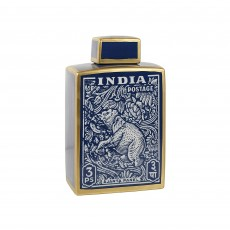 "Mindy Brownes India 12"" Jar Blue & Gold"