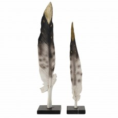 Mindy Brownes Feather On Marble Black & Gold (Set of 2)