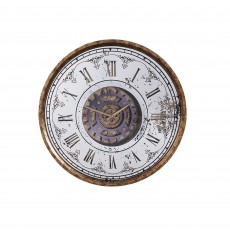 Mindy Brownes Eligah Round Clock With Antique Brass Surround