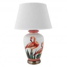Mindy Brownes Flamingo Table Lamp White & Pink With White Shade