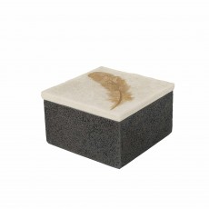 Mindy Brownes Feather Box Small Black, Gold & White