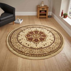 Heritage 4400 Circle Rug Cream & Red