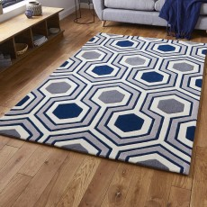 Hong Kong 3661 Rug Grey & Navy