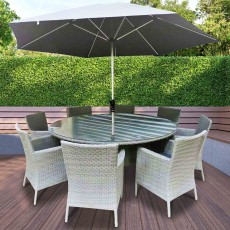 Katie Blake by Glencrest Seatex Chatsworth 8 Person Round Table Dining Set Grey + Parasol + Base