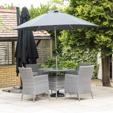 Katie Blake by Glencrest Seatex Chatsworth 4 Person Round Table Dining Set Grey + Parasol + Base