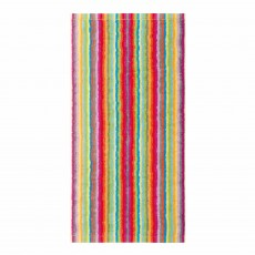 Cawo Lifestyle Stripe Towel Apricot & Raspberry