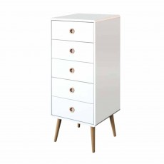 Steens Softline 5 Drawer Tallboy White