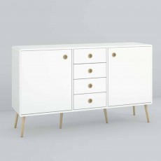 Steens Softline 2 Door + 4 Drawer Cupboard White