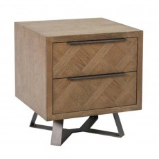 Dale 2 Drawer Bedside Locker Grey Oak