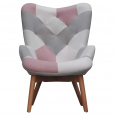 Hawthorn Armchair Fabric Pink Patchwork