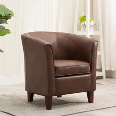 Shirley Tub Chair Faux Leather Tan