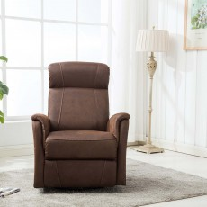 Maurice Manual Recliner Armchair Suede Look Fabric Mocha
