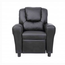 Kids Recliner Armchair Faux Leather Black