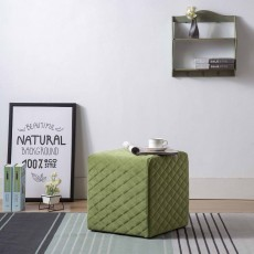 Amanda Quilted Cube Footstool Fabric Green