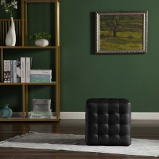 Frankie Footstool Faux Leather Black