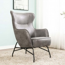 Maguire Armchair Suede Look Fabric Charcoal