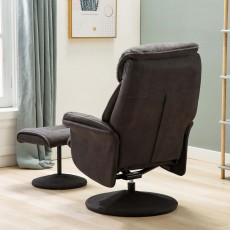 Dingle Swivel Recliner & Footstool Suede Look Fabric Dark Grey