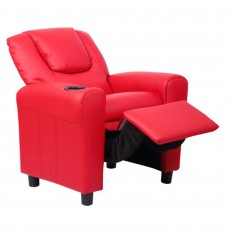 Kids Recliner Armchair Faux Leather Red