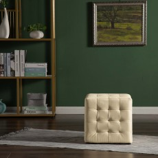 Frankie Footstool Faux Leather Beige