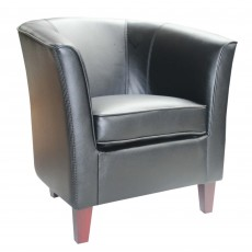 Shirley Tub Chair Faux Leather Black