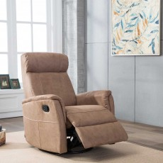 Maurice Manual Recliner Armchair Suede Look Fabric Sand