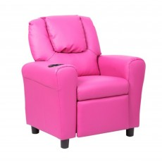 Kids Recliner Armchair Faux Leather Pink