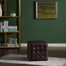 Frankie Footstool Faux Leather Chocolate