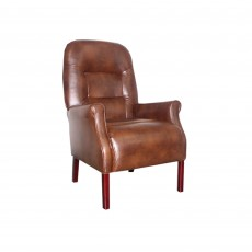 Cliften Armchair Faux Leather Tan