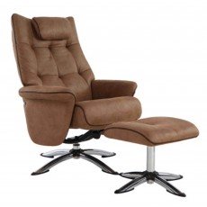 Welles Swivel Recliner & Footstool Fabric Sand