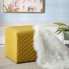 Amanda Quilted Cube Footstool Fabric Yellow