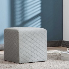 Amanda Quilted Cube Footstool Fabric Grey