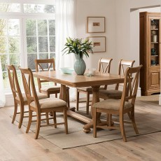 Brid Oak Slat Back Dining Chair With Fabric Seat Pad