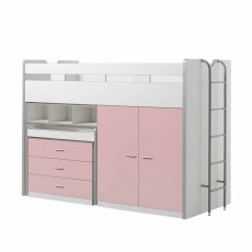 Vipack Bonny High Sleeper With Wardrobe, Chest of Drawers and Pull-Out Desk Light Pink