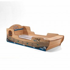 Vipack Pirate Boat Shaped Single (90cm) Bedstead Brown