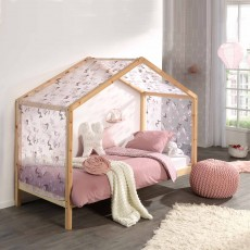 Vipack Dallas House Shaped Single (90cm) Bedstead with Slanted Roof Natural
