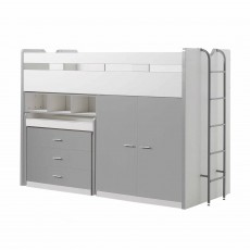 Vipack Bonny High Sleeper With Wardrobe, Chest of Drawers and Pull-Out Desk Silver