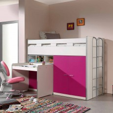 Vipack Bonny High Sleeper With Wardrobe, Chest of Drawers and Pull-Out Desk Fuchsia