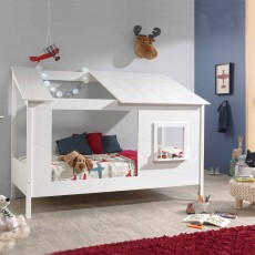 Vipack House Shaped Single (90cm) Bedstead With Single Roof Panel White