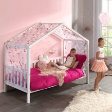 Vipack Dallas House Shaped Single (90cm) Bedstead with Slanted Roof White