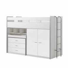 Vipack Bonny High Sleeper With Wardrobe, Chest of Drawers and Pull-Out Desk White