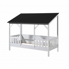 Vipack House Shaped Single (90cm) Bedstead With Three Roof Panels White & Black