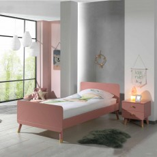 Vipack Billy Single (90cm) Bedstead Terra Pink