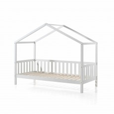 Vipack Dallas House Shaped Single (90cm) Bedstead with Fence White