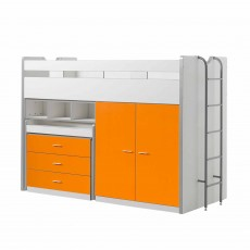 Vipack Bonny High Sleeper With Wardrobe, Chest of Drawers and Pull-Out Desk Orange