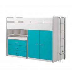 Vipack Bonny High Sleeper With Wardrobe, Chest of Drawers and Pull-Out Desk Turquoise
