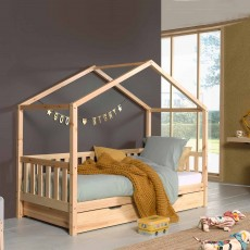 Vipack Dallas House Shaped Single (90cm) Bedstead with Fence Natural