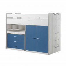 Vipack Bonny High Sleeper With Wardrobe, Chest of Drawers and Pull-Out Desk Blue