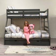 Solar Painted Triple/Dual Storage Bunk Bed Grey + Single & Double 'Sleep To Dream' Mattress Bundle