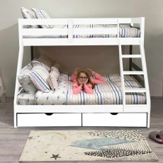 Solar Painted Triple/Dual Storage Bunk Bed White + Single & Double 'Sleep to Dream' Mattress Bundle